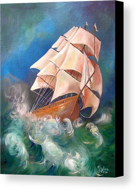 Sail Canvas Print featuring the painting Full Blowm by Sylvia Stone