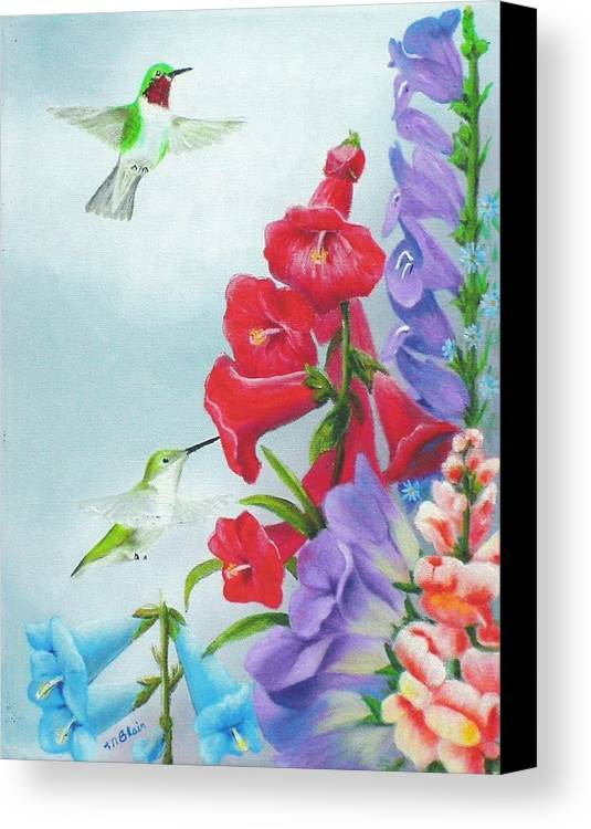 Birds Canvas Print featuring the painting Garden Beauties by Merle Blair