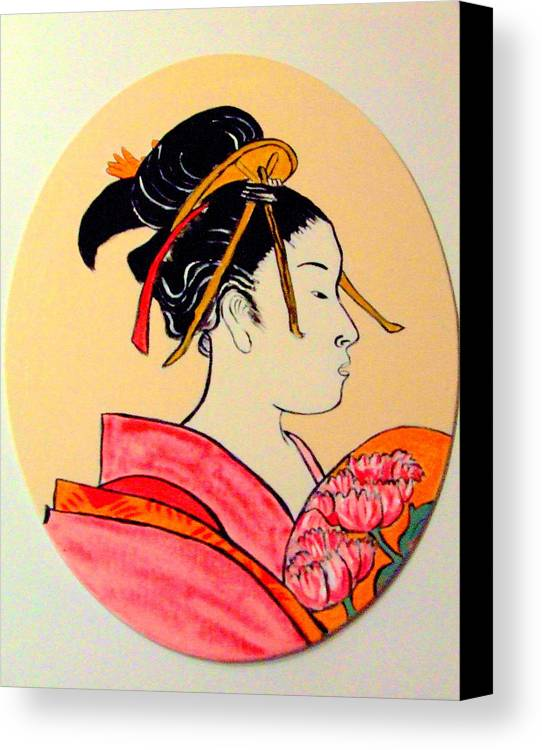 Geisha Girls Canvas Print featuring the painting Geisha In The House Of Pleasure by Rusty Gladdish