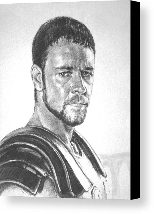 Portraits Canvas Print featuring the drawing Gladiator by Iliyan Bozhanov