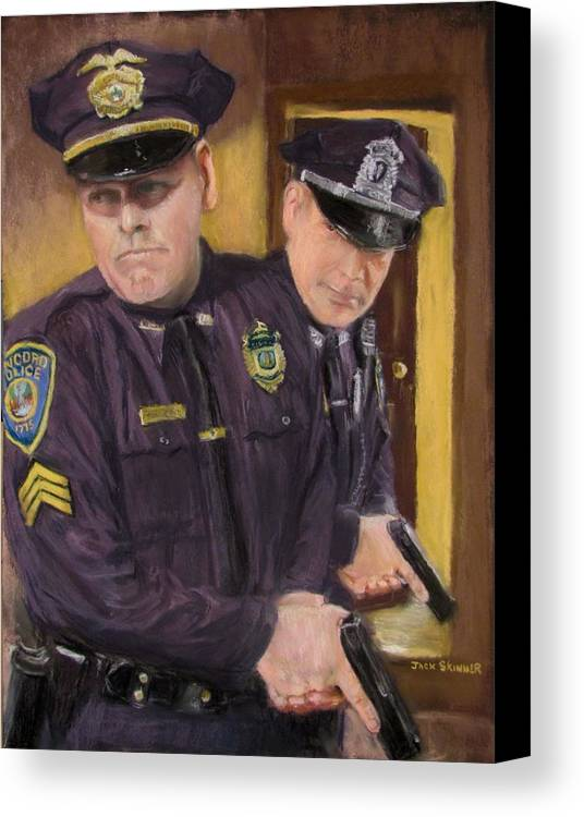 Law Enforcement Canvas Print featuring the painting Go On Three...1....2.... by Jack Skinner