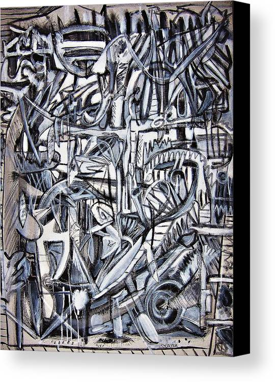 Abstract Black White Canvas Print featuring the painting Grad by Dave Kwinter