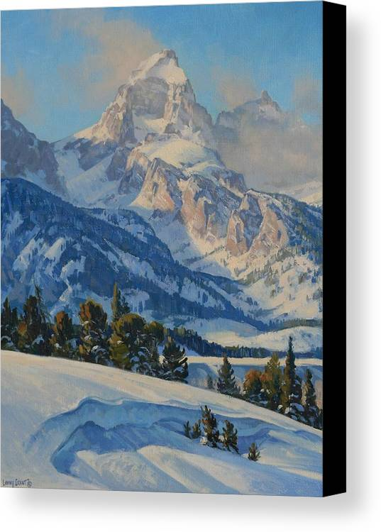 Landscape Canvas Print featuring the painting Grand Teton by Lanny Grant