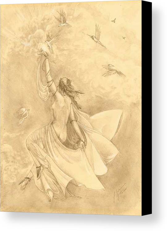 Flying Canvas Print featuring the drawing Heavenward by Julianna Ziegler