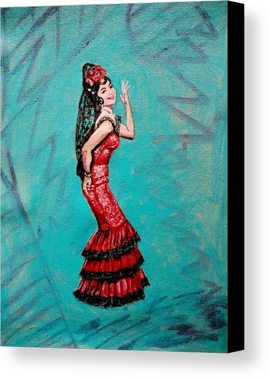Bollywood Canvas Print featuring the painting Helen In Teesri Manzil by Usha Shantharam