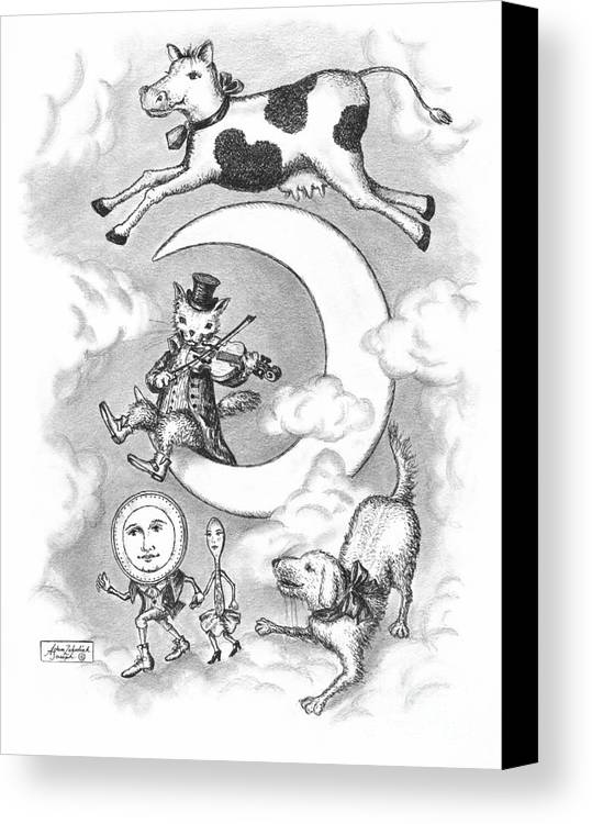 Art Canvas Print featuring the drawing Hey Diddle Diddle by Adam Zebediah Joseph