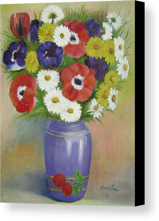 Floral Canvas Print featuring the painting Holiday Flowers by Lian Zhen