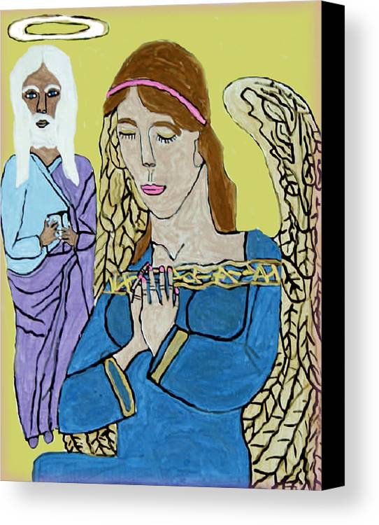 Holy Jesus Religion Christmas Season Canvas Print featuring the painting Holy Jesus Praise The Lord by Betty Roberts
