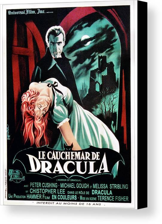 1950s Poster Art Canvas Print featuring the photograph Horror Of Dracula Aka Le Cauchemar De by Everett