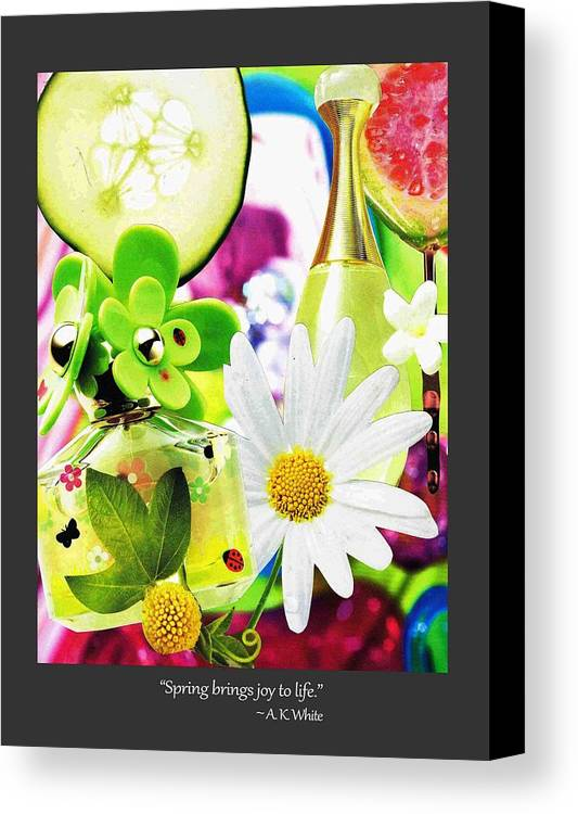 Spring Canvas Print featuring the mixed media I Love Spring_with Border by Toots Magsino