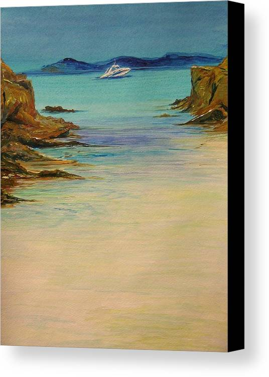 Seascape Original Painting Canvas Print featuring the painting Ibiza In The Distance.... by Lizzy Forrester