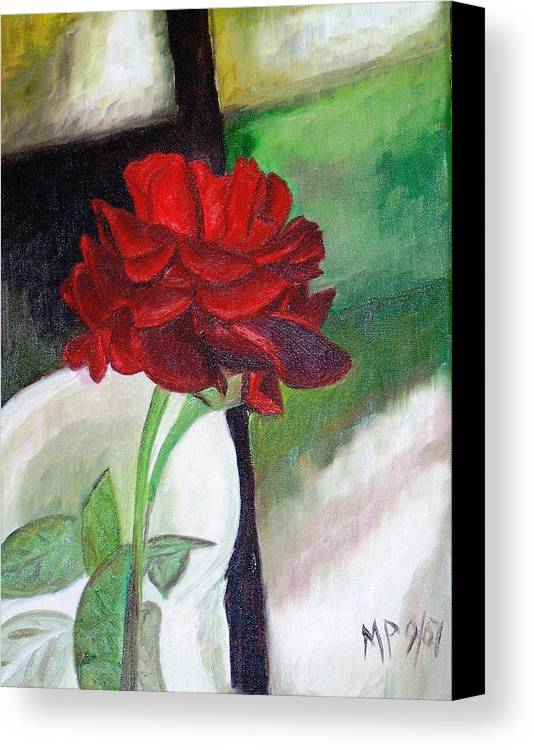 Floral Canvas Print featuring the painting Jennifers Rose by Madeleine Prochazka