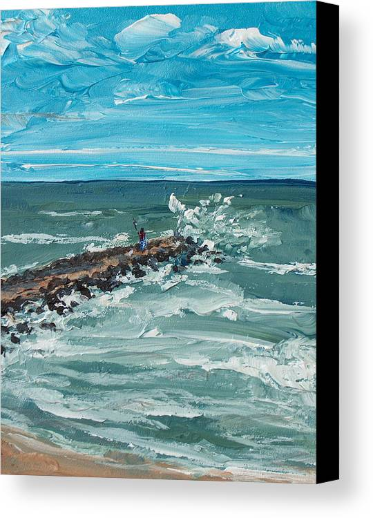 Seascape Canvas Print featuring the painting Jersey Jetty by Pete Maier