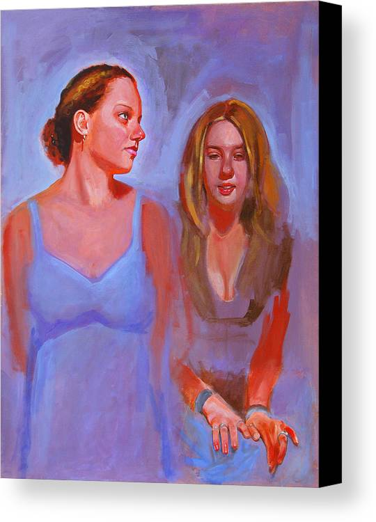 2 Girls Canvas Print featuring the painting Jessica And Kate by John Tartaglione