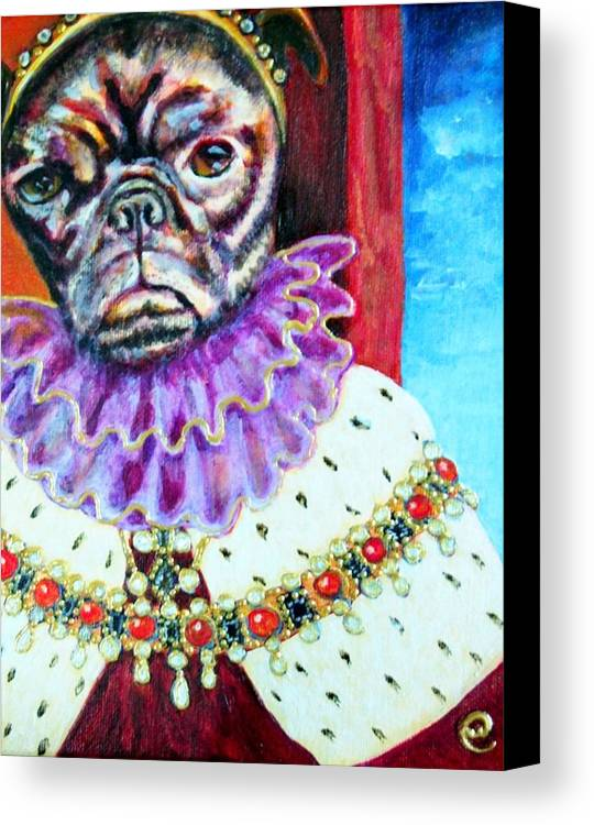 Pug Canvas Print featuring the painting Joji by Linda Markwardt