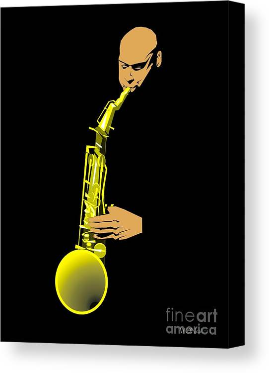 Portraits Canvas Print featuring the digital art Joshua Redman by Walter Oliver Neal