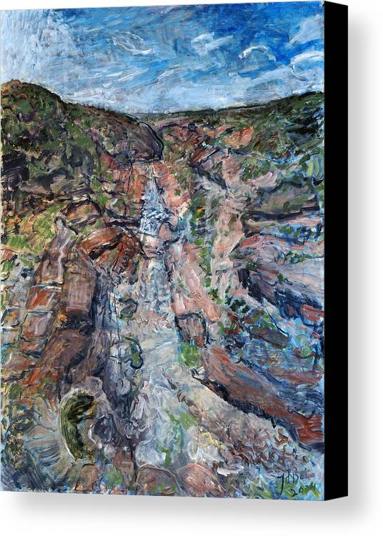 Gorge Canvas Print featuring the painting Kalbarri Gorge by Joan De Bot