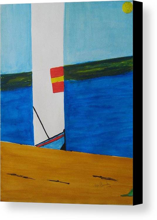 Seascape Canvas Print featuring the painting La Playa - The Beach. by Roger Cummiskey
