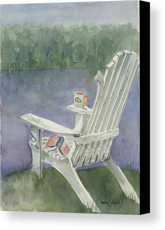 Chair Canvas Print featuring the painting Lawn Chair By The Lake by Arline Wagner