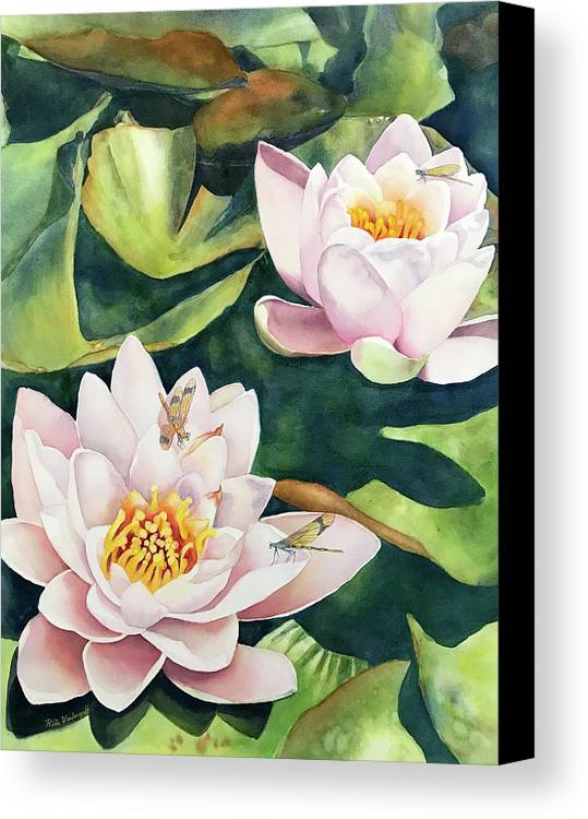 Lily Canvas Print featuring the painting Lilies And Dragonflies by Hilda Vandergriff
