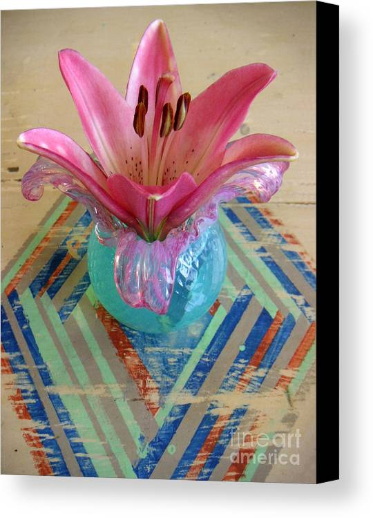 Nature Canvas Print featuring the photograph Lily On A Painted Table Too by Lucyna A M Green