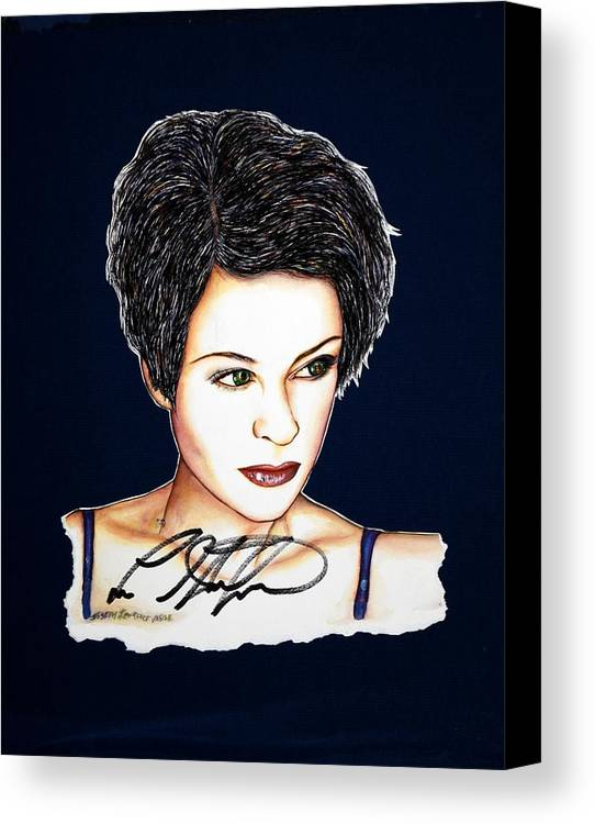 Autographed Canvas Print featuring the mixed media Lisa Standsfield by Joseph Lawrence Vasile
