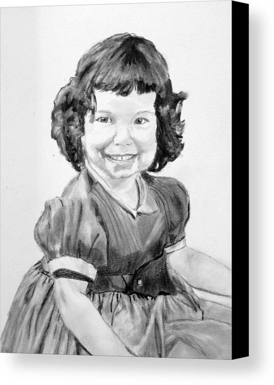 Little Girl Curls Dress Child Children Cute Adorable Canvas Print featuring the drawing Little Cathy by Cathy Jourdan