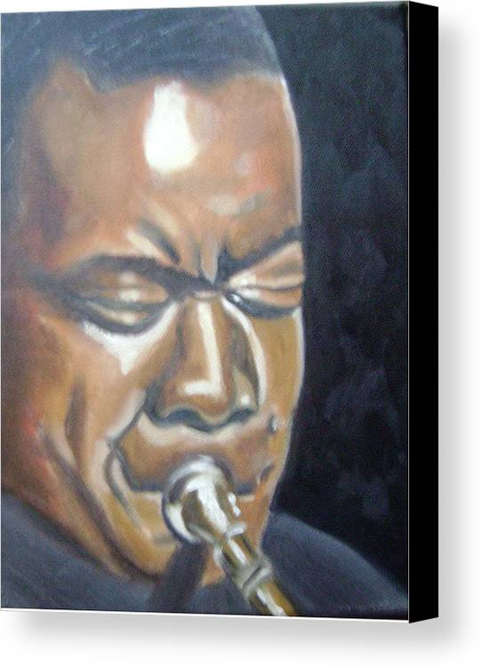 Louis Armstrong Canvas Print featuring the painting Louis Armstrong by Toni Berry
