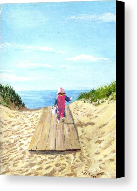 Beach Canvas Print featuring the painting March To The Beach by Jack Skinner