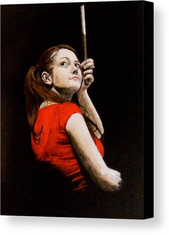 Meg White Canvas Print featuring the painting Meg White by Luke Morrison