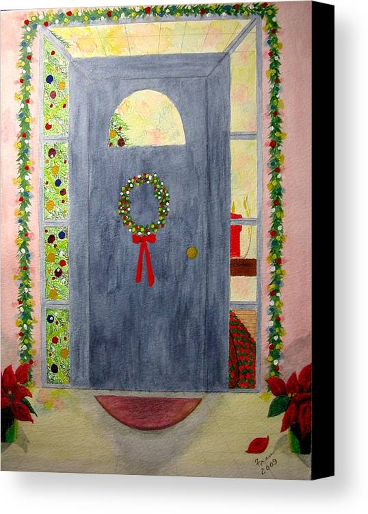 Canvas Print featuring the painting Merry Christmas by Fran Hoffpauir
