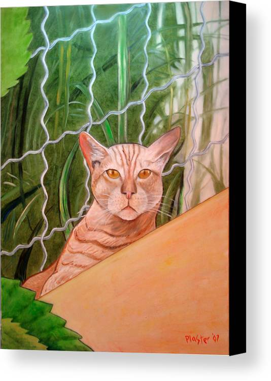 Cat Canvas Print featuring the painting Miami Lewie by Scott Plaster