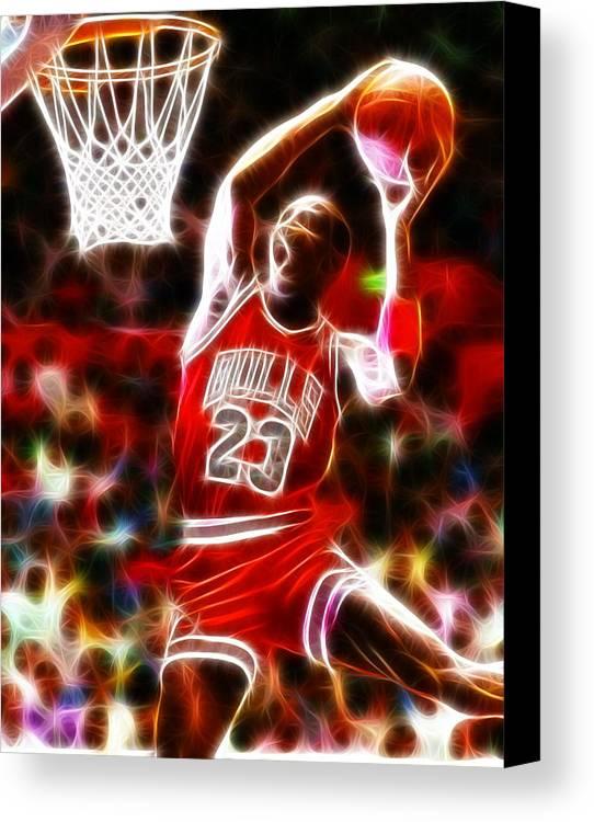 Mj Canvas Print featuring the digital art Michael Jordan Magical Dunk by Paul Van Scott