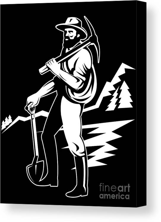Illustration Canvas Print featuring the digital art Miner With Pick Axe And Shovel by Aloysius Patrimonio