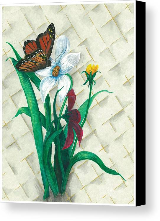 Flowers Canvas Print featuring the painting Monarch And Flowers by Sally Balfany