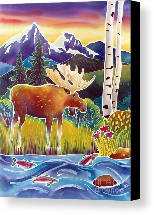 Moose Canvas Print featuring the painting Moose On Trout Creek by Harriet Peck Taylor