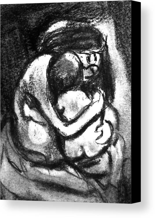 Mother And Baby Canvas Print featuring the drawing Mother And Baby8216 by Hae Kim