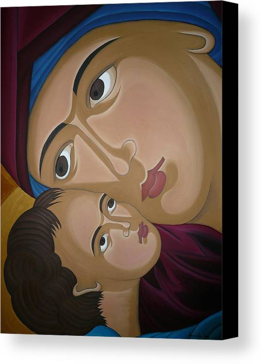 Marinella Owens Artist Oil Paintings Greek Icons Canvas Print featuring the painting Mother-love by Marinella Owens