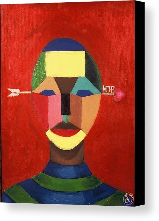 Mask Canvas Print featuring the painting Mother by Malik Seneferu