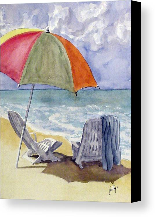 Umbrella Canvas Print featuring the painting Must Be Swimming by Jim Phillips
