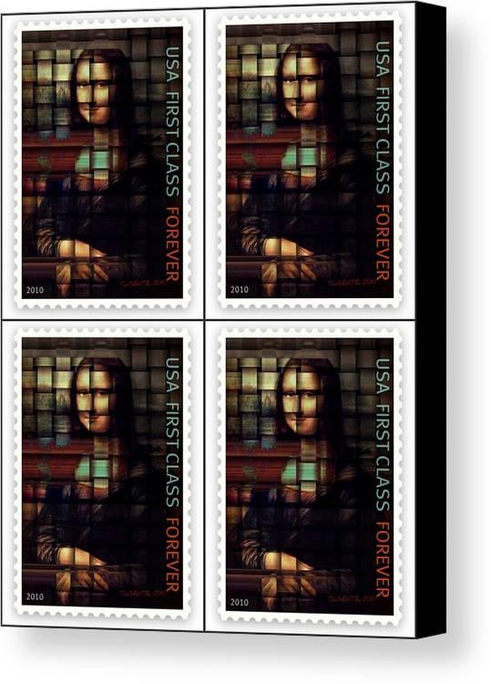 My Mona Lisa Print Canvas Print featuring the digital art My Mona Lisa Weave 4 by Teodoro De La Santa