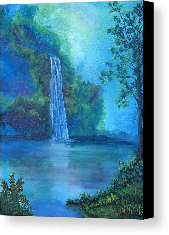 Landscape Canvas Print featuring the painting Mystic Waterfall by SheRok Williams