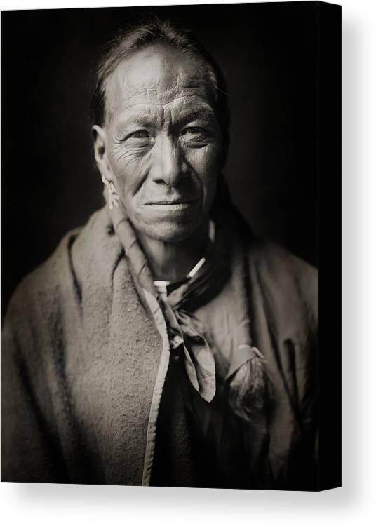 Edward Curtis Canvas Print featuring the photograph Native American Taos Indian White Clay by Jennifer Rondinelli Reilly - Fine Art Photography