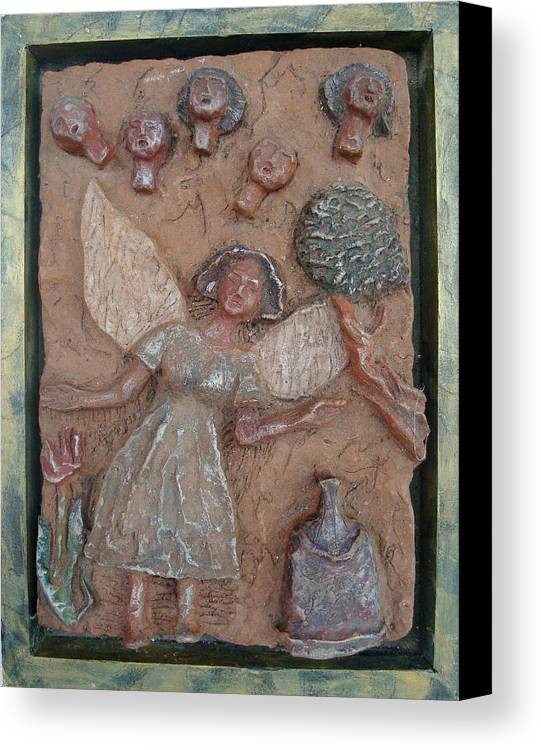 Clay Canvas Print featuring the relief Natividad 1 by Lorna Diwata Fernandez