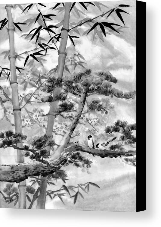 Black And White Canvas Print featuring the painting Nature by Eileen Fong