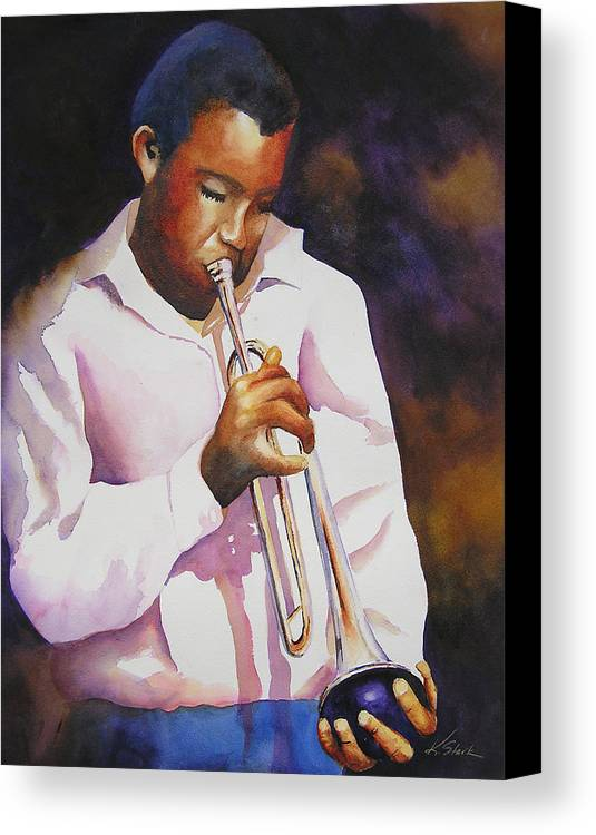 Trumpet Canvas Print featuring the painting Night Music by Karen Stark