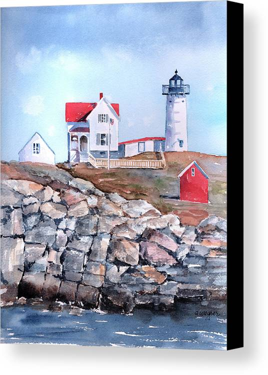 House Canvas Print featuring the painting Nubble Lighthouse - Maine by Arline Wagner