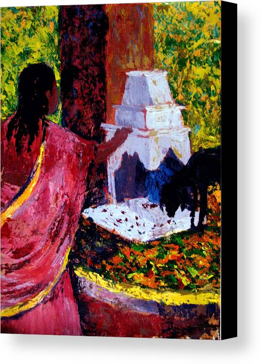 India Canvas Print featuring the painting Offerings by Art Nomad Sandra Hansen
