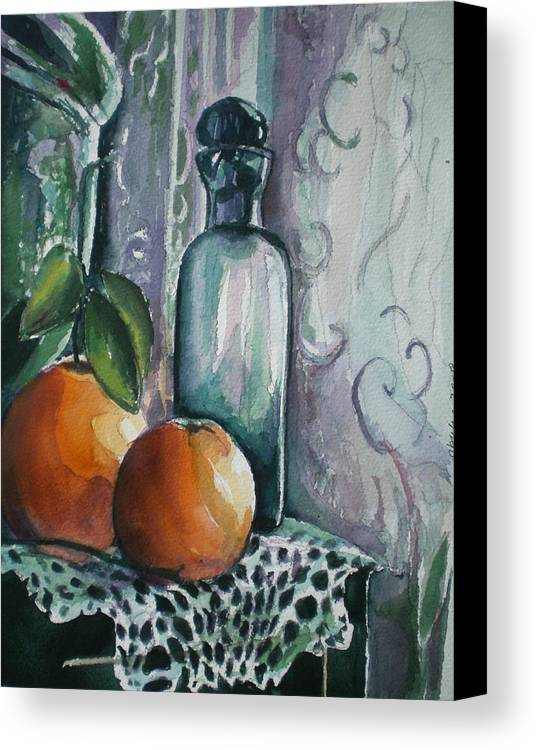 Still Life Canvas Print featuring the painting Oranges With Blue Bottle by Aleksandra Buha