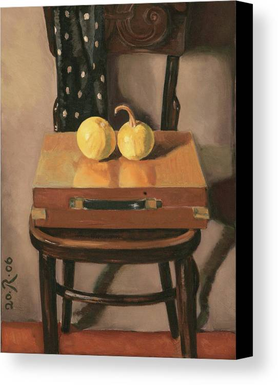 Still-life Chest Chair Brown Yellow Reflection Cucurbit Canvas Print featuring the painting Painters Chest by Raimonda Jatkeviciute-Kasparaviciene